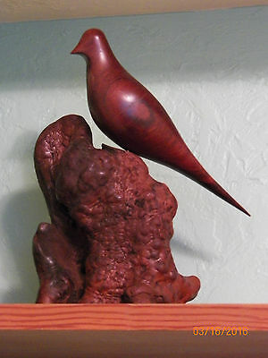 signed and dated miles greer hand carved bird on burl stand  may 4th 1976