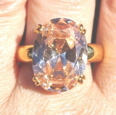 GORGEOUS14k GF & BRASS HUGE 10.35  CWT CREATED MORGANITE BAND RING S 9