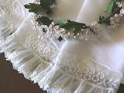 """Set of 3 Antique French Net Lace 19"""" Hand Towels"""