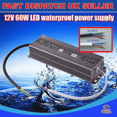 60W DC12v Waterproof Transformer Power Supply Adapter LED Light Outdoor UK Stock