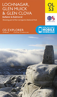 LOCHNAGAR, GLEN MUICK Map - OL 53 - OS - Ordnance Survey - INC. MOBILE DOWNLOAD