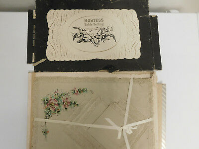 Vintage Antique Napkin Placemat Set In Hostess Table Setting Box