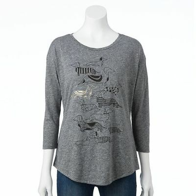 Sonoma Life Style Scooped Neck Grey Ladies Dachshund Design Top size X-Large