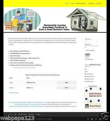 RESELL RIGHTS MEMBERSHIP WEBSITE BUSINESS FOR SALE! Make Money Online - Home Bi
