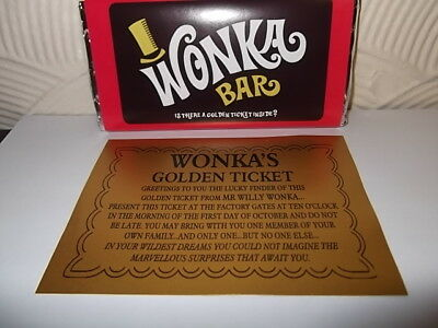 Willy Wonka (Replica) Chocolate Bar,+ Golden Ticket Novelty Great Gift/ Present