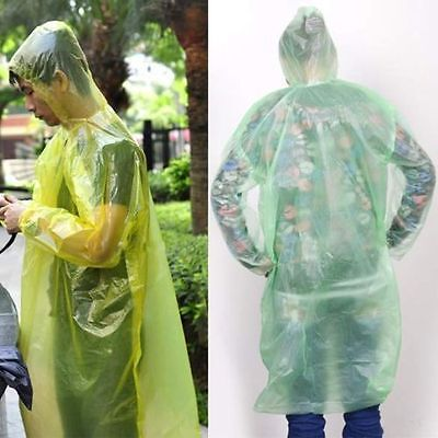 2/5/10X Disposable Emergency Waterproof Raincoat Poncho  Camping Hood FO