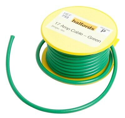 30m GREEN//YELLOW 21A 12v AUTO CABLE 1.5mm//sq CAR WIRING LOOM WIRE AUTOMOTIVE