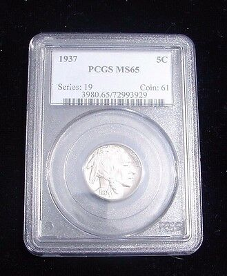 1937 Pcgs Mint State 65 Five Cent Buffalo Nickel Certified Coin