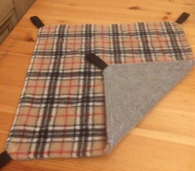 New Flat Fully Quilted Hammock For Rats+small Animals. TARTAN + GREY FLEECE