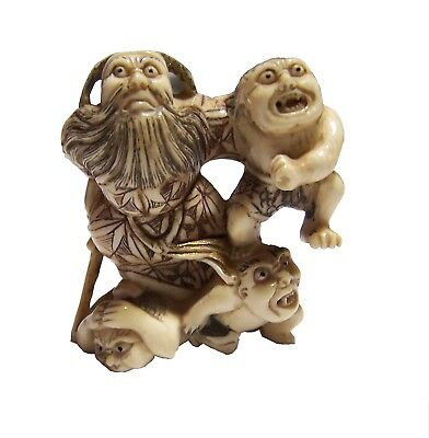 Antique Japanese Meiji period Netsuke of a Group of Four  #7