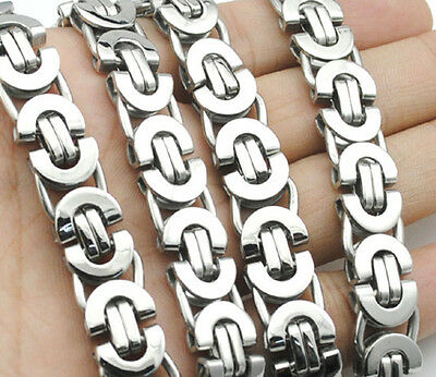 6/8/11mm Silver Tone Byzantine Link Stainless Steel Necklace Boy Mens Chain Gift