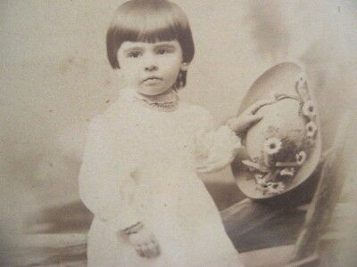 1800's GIRL CHILD PHOTO Large to Medium Gilt Frame Antique Picture Sepia Cabinet
