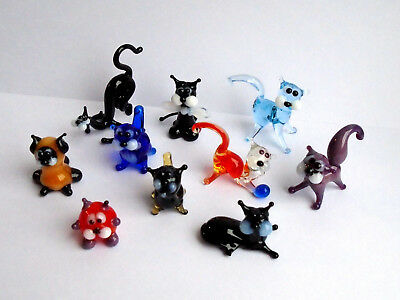 Miniature Art Glass, Murano, Glass Sculpture, Blown Glass Figurine Set Cats