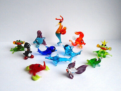 Miniature Art Glass, Murano Sculpture, Blown Glass Figurine Set Animals #80