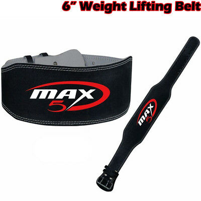 "Weight Lifting Belt 6"" Leather Power Back Support Strap Gym Training Fitness"