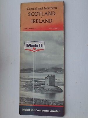 Vintage 1961 Mobil Map of Central & Northern Scotland & Ireland