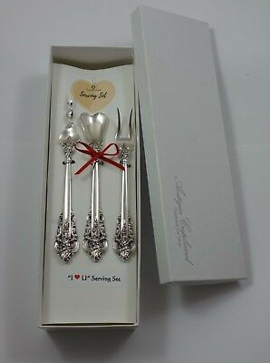Grande Baroque by Wallace Sterling Silver I Love You Serving Set Valentines Gift