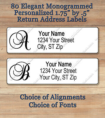 "Personalized Elegant Monogram Return Address Labels ~ 1 3/4"" x 1/2"" ~ Script 1"