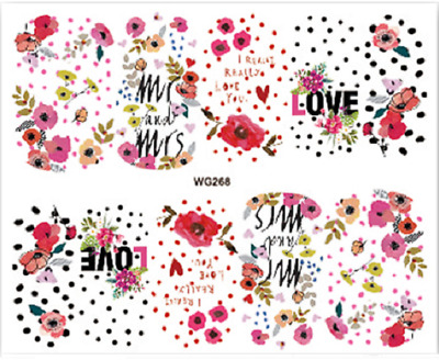Nail Art Stickers Water Decals Transfers LOVE (WG268)