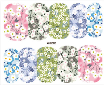 Nail Art Stickers Water Decals Transfers White Flowers (WG272)