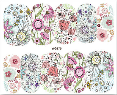 Nail Art Stickers Water Decals Transfers Colourful Flowers (WG275)