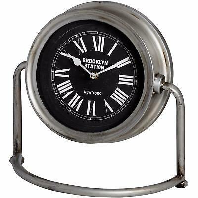 Large Vintage Gents Mantel Shelf Clock - Distressed Metal Silver Retro New York