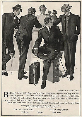 1904 Ad Hart Schaffner & Marx Mens Clothes Big Boys College Bound Suitcases