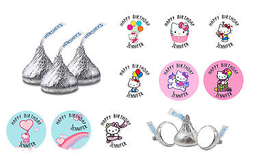 a01fc376b 108 Hello Kitty Sanrio Happy Birthday Party Hershey Kiss Candy Labels Favors