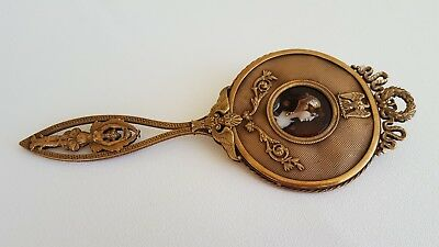 Antique bronze and porcelain enamel plaque Handle Mirror. Bevelled glass. French