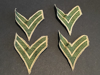VINTAGE WW2 US Army Military Stripe patches - Green/gold- lot of 4