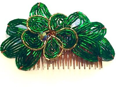 Vtg French Glass Beaded Kelly Green & Gold Fascinator Hair Comb Nos