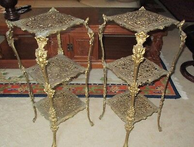 Antique Brass Gilt Planter Lamp Stand pair Ornate Cherub statue table Louis XVI