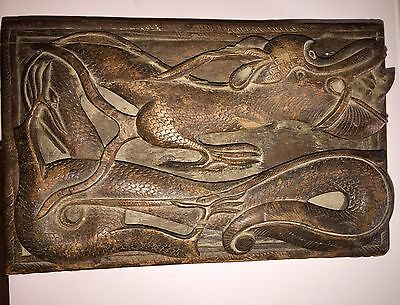 Antique Chinese/Asian DRAGON BOX Deeply Hand Carved Wood