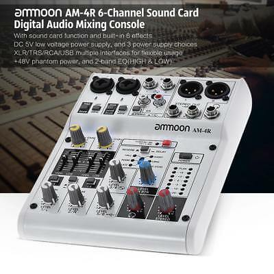 ammoon am 4r 6 channel sound card digital audio mixer mixing console white r2w2 cad. Black Bedroom Furniture Sets. Home Design Ideas