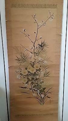 "Japan Large Silk scroll painting Cherry Blossoms Signed original box 60""Hx21""W"