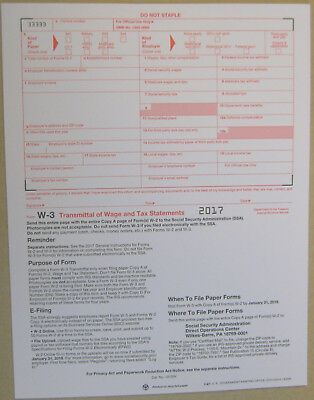 2017 Irs Tax Forms Kit W 2 Wages 6 Pt Laser For 10 Employees W 3