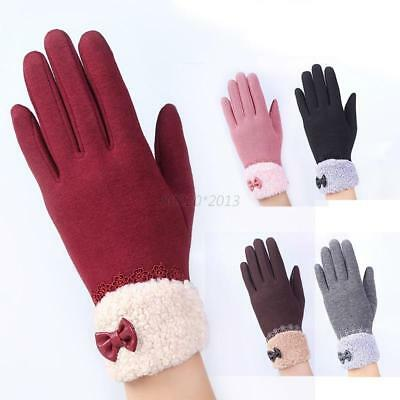 AU Hot Women Ladies Fleece Thermal Lined Gloves Winter Warm Touch Screen Mitten