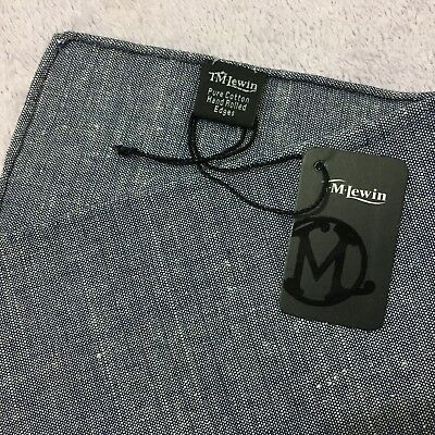 Mens T.M.LEWIN Hand Rolled BLUE WHITE TEXTURED COTTON LINEN POCKET SQUARE Gift