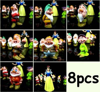 Snow White and the Seven Dwarfs Disney Figures Cake Topper Doll Playset 8pcs Set