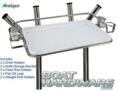 Deluxe Bait Board Complete with Drink & Rod Holders Stainless Steel Legs + Drain