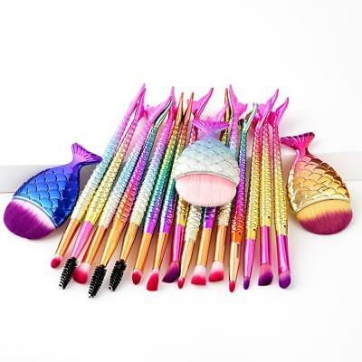 6x Mermaid Tail Brush Eyeshadow Eyeliner Eye Lip Contour Tool Make up Set