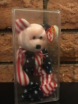 Ty Beanie Baby 1999 SPANGLE the Patriotic Bear - White Face EXCELLENT CONDITION