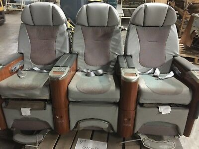 First Class Airplane Seats (3) Electric Controls ~Recline~Fold Out Tables~1