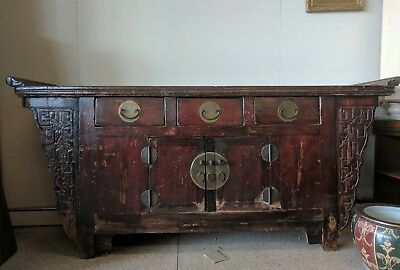 Vintage Chinese Rustic Altar Buffet Table TV Stand Cabinet