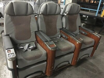 First Class Airplane Seats (3) Electric Controls ~Recline~Fold Out Tables~2