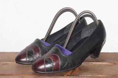 Vintage 1980's Black Maroon REAL LEATHER Thick Small Heel COURT Shoes 3.5 36.5