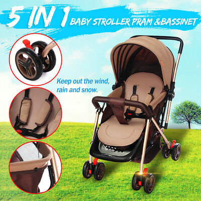 Baby Stroller Pram &Bassinet 5 in 1 Newborn Baby jogger Folding Pushchair Travel