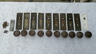 Lot Of 10 Antique / Vintage Door Knobs And Cast Iron Back Plates