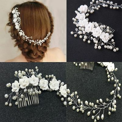 Flower Pearl Crystal Hair Comb Bridal Wedding Headband Accessories Headpiece