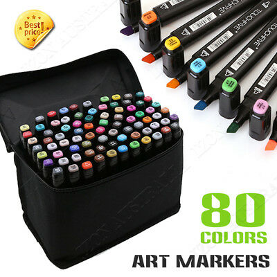 Markers Pen Set Art Sketch Twin Point School Drawing 80 Colors